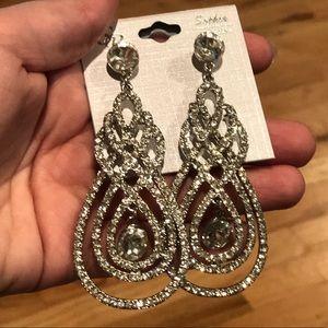 Sophia Collection Crystal Swirl Wedding Earrings